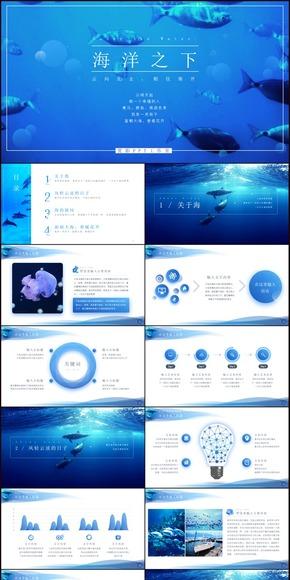 海洋之下文艺范商业计划书年终汇报PPT模板(两种配色)
