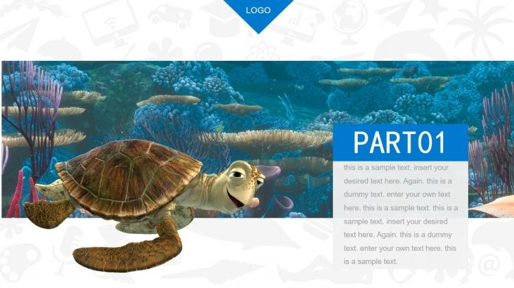 广州微传媒工作室,根据电影《海底总动员2》为主题,编辑了此ppt 素