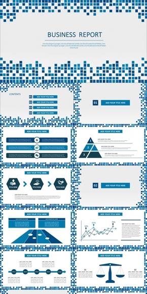 格子简约时尚商务计划总结模板(红蓝双版)