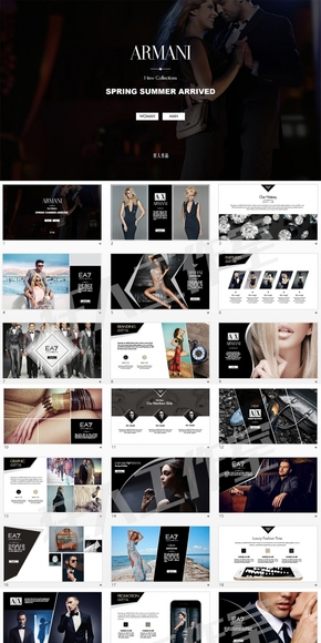 阿玛尼品牌全球顶级奢侈品牌时装PPT模板