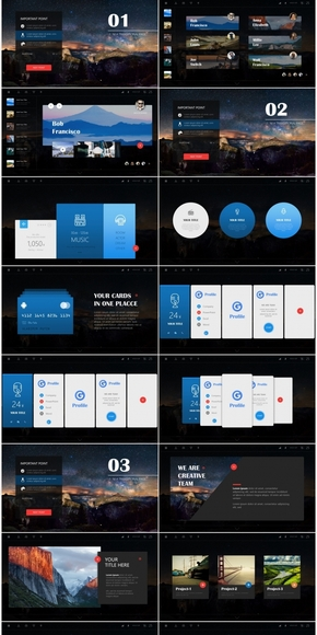 【蓝计划】深色网页风商务企划模板-Around