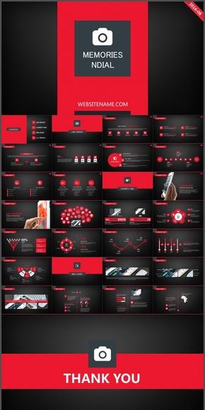 经典红黑杂志风创意排版通用模板