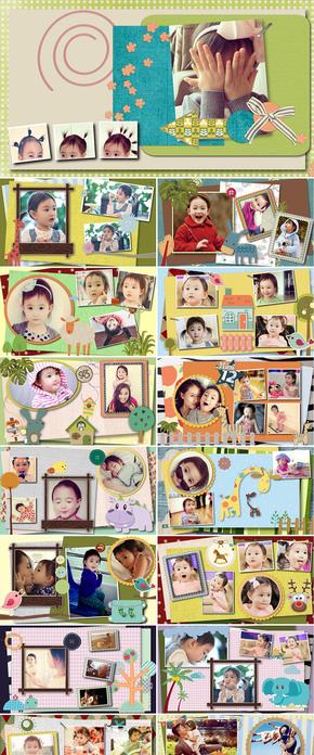 可爱卡通宝宝儿童成长记录档案满月照片留念电子相册纪念册ppt模板