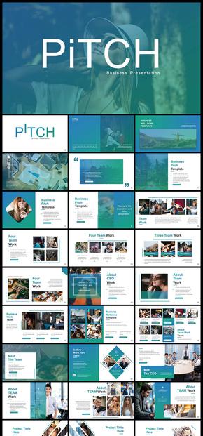 渐变色欧美风企业介绍商务汇报数据分析商业计划工作汇报计划总结图片展示等商务多用途PPT模板