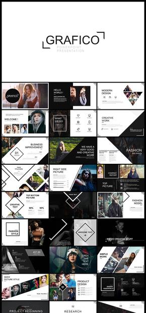 欧美风创意图形图片展示企业介绍产品发布品牌宣传个人写真商务汇报PPT模板