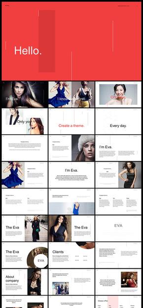 欧美风杂志风简约时尚人物图片展示报告PPT模板