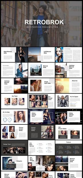 欧美风杂志风简约时尚模特摄影展示PPT模板