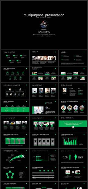 【绿色】欧美风极简风企业商务PPT模板