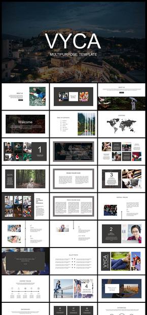 欧美风黑白简约商务风企业介绍商务汇报产品发布品牌宣传数据分析工作汇报计划总结商业计划等PPT模板