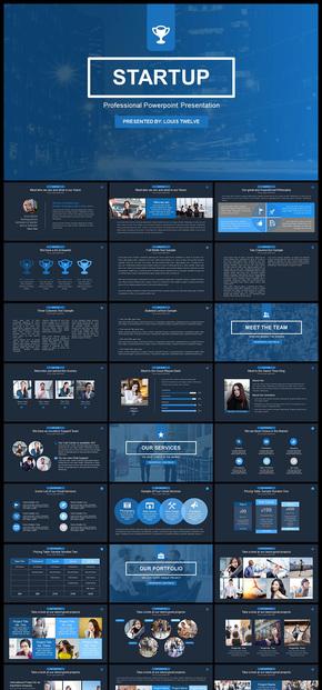 【蓝色】欧美风商务风精美配色企业总结计划企业介绍公司简介商业计划创业计划等商务通用PPT模板