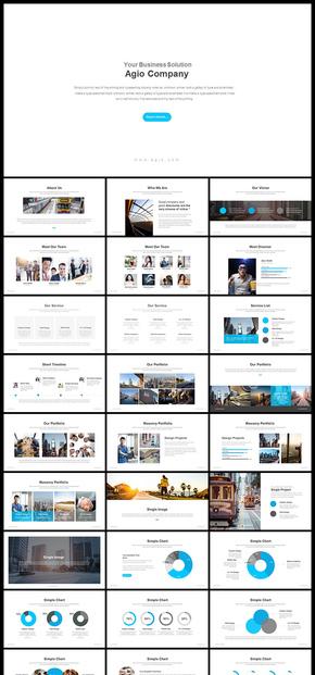 欧美风简约大气商务风格企业介绍企业宣传商业计划工作总结汇报新年计划PPT模板