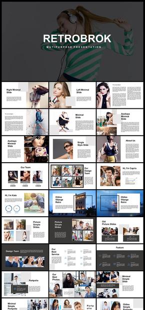 欧美风简约时尚模特摄影展示杂志风格PPT模板