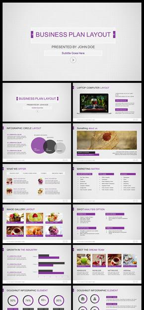 【紫色】网格商务扁平化简洁清爽商务风格欧美PPT模板
