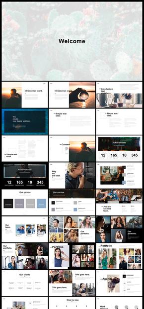欧美风简约版面设计风格企业介绍产品发布品牌宣传商务汇报图片展示个人写真PPT模板