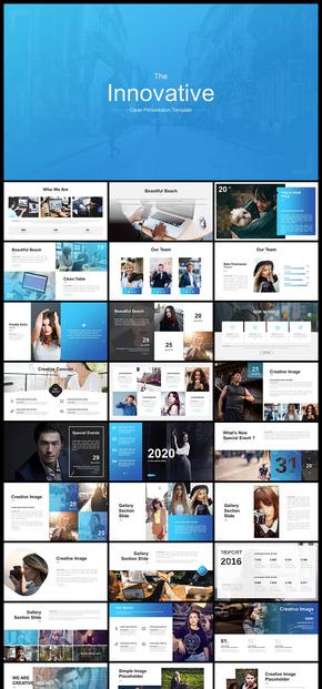 欧美风蓝色欧美风企业介绍商务汇报商业计划工作汇报计划总结年终总结新年计划数据分析数据图表PPT模板