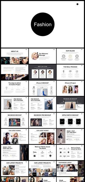 欧美风简约风个性时装品牌宣传产品宣传商务汇报等PPT模板