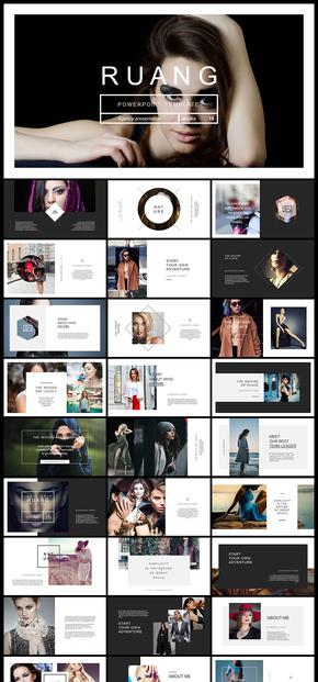 歐美風雜志風簡約大氣攝影攝像圖片展示雜志畫冊人物寫真廣告宣傳PPT模板