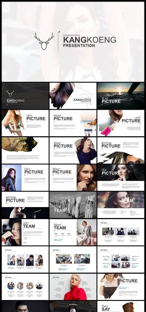 欧美风 杂志风 扁平化 摄影 照片 个人写真 图片展示 企业宣传画册 产品发布 品牌宣传 PPT模板