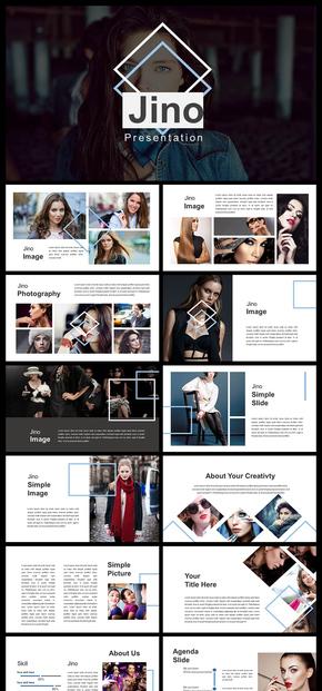 欧美简约文艺风格企业介绍企业宣传产品发布品牌宣传个人写真图片展示PPT模板