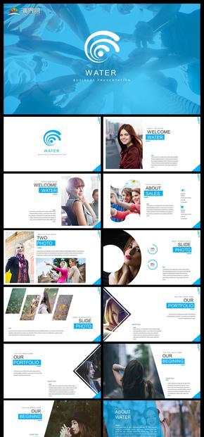 蓝色欧美风企业宣传公司简介商务汇报工作汇报商业计划年终总结新年计划等商务多用途PPT模板