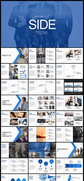 藍色歐美風簡約風商務風企業商務總結計劃商業計劃創業計劃多用途PPT模板