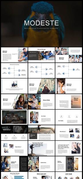 欧美风简约文艺风格企业介绍商务汇报产品发布品牌介绍计划总结等商务PPT模板