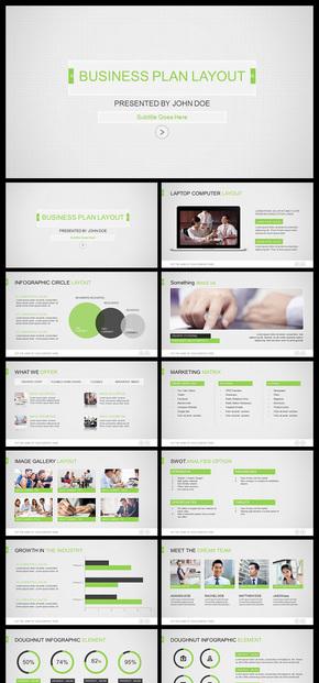 【绿色】网格商务扁平化简洁清爽商务风格欧美PPT模板