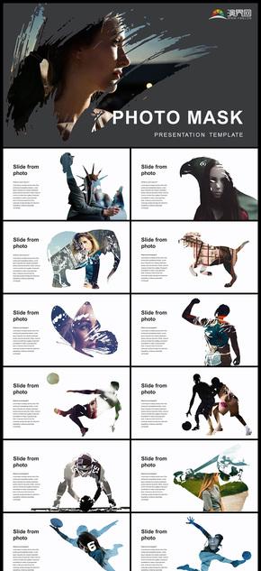创意水墨人物动物剪影图片占位符PPT模板
