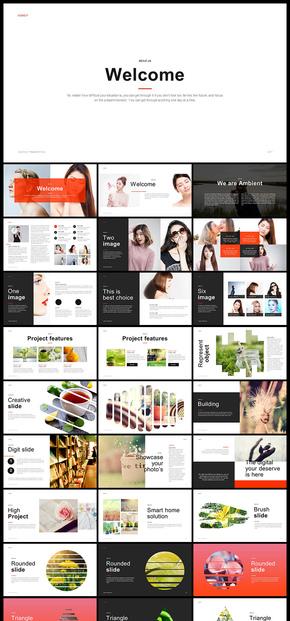欧美风简约文艺风企业宣传画册企业介绍产品发布品牌宣传数据分析商务汇报图片展示等商务通用PPT模板