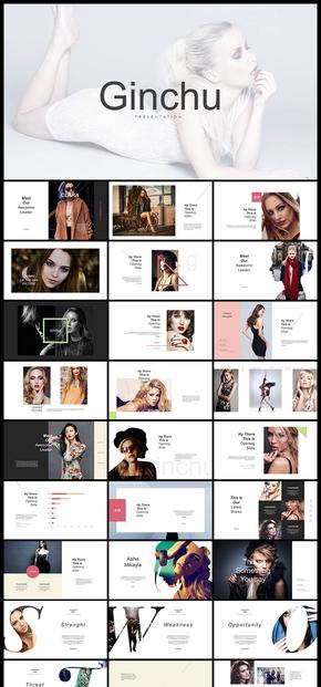 歐美風簡約攝影模特寫真圖片排版展示PPT模板
