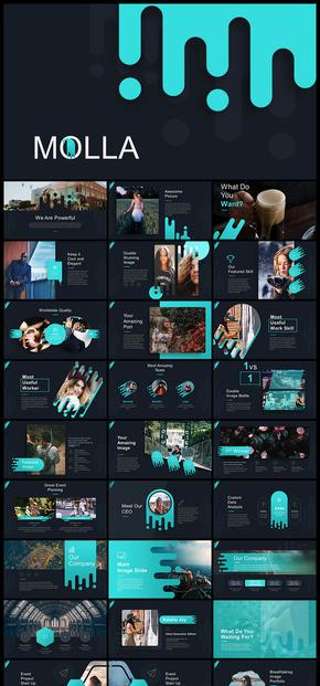 欧美风创意图形设计企业商务PPT模板