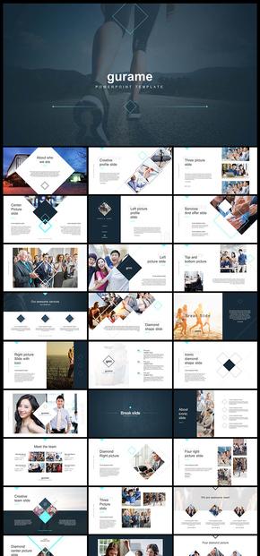 歐美風扁平化簡約藝術雜志風格企業介紹公司簡介商業計劃創業計劃PPT模板
