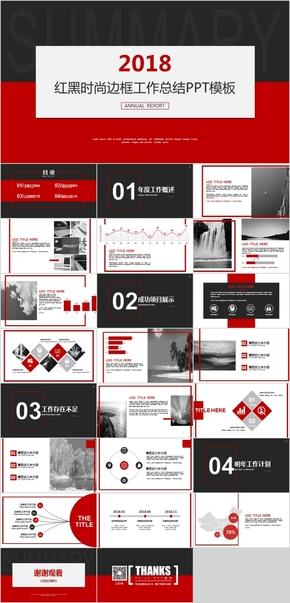 【OFFICE 2016】时尚红色边框商务总结PPT模板