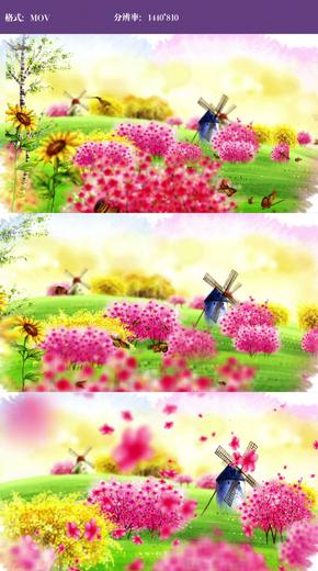 唯美水彩蝴蝶风车视频