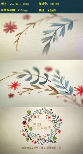 水彩植物生长logo ae模板