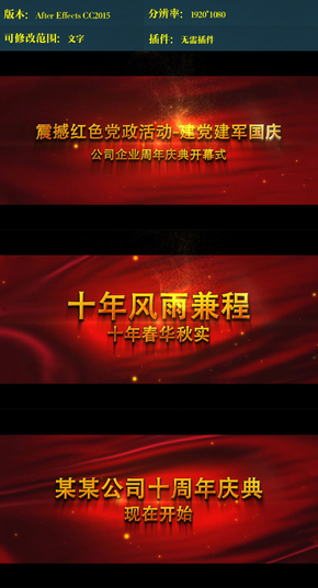 党政活动公司周年庆典开幕式ae模板