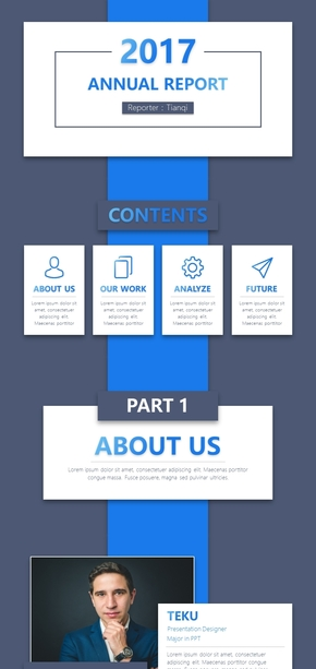 【一体式幻灯片】蓝色扁平商务汇报PPT模板-30页海量内页-动静双版