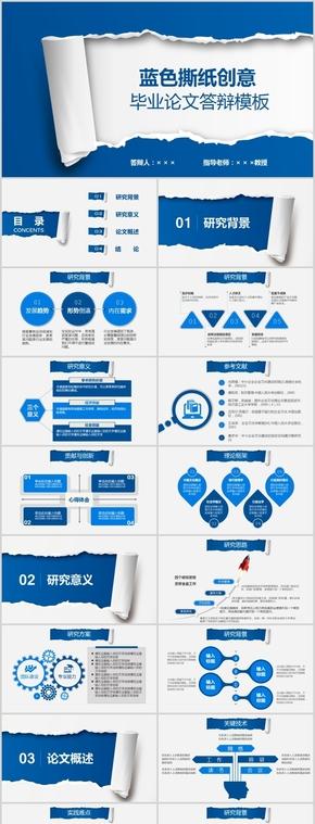 商务蓝色撕纸创意毕业答辩PPT模板