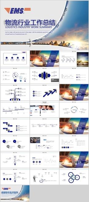 EMS物流行业动态蓝色商务汇报总结PPT模板
