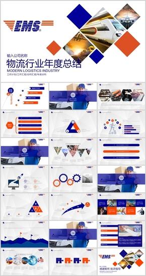 EMS物流行业商务动态汇报总结PPT模板