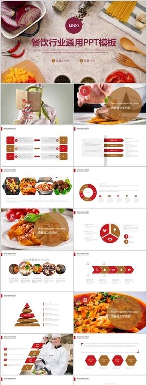 餐饮行业工作汇报总结通用PPT模板