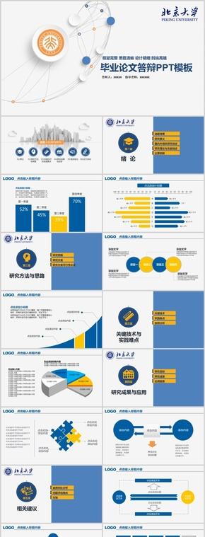 黃藍色微立體畢業答辯,開題報告PPT模板
