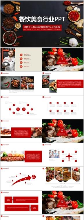 红黑色餐饮美食行业工作汇报总结PPT模板