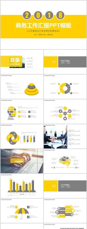 活力黄色商务工作汇报总结PPT模板
