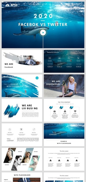 旅游风景画册高端蓝色调海洋风产品发布工作汇报通用PPT模板