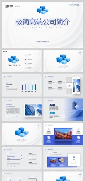 蓝白极简设计高端公司简介企业情况介绍PPT模版