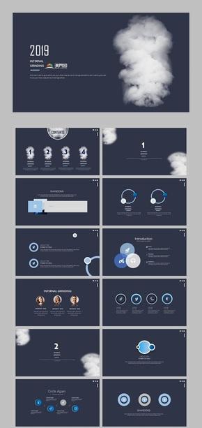 极简元素 深蓝色 高端演绎 商务创意 工作汇报计划总结PPT模板