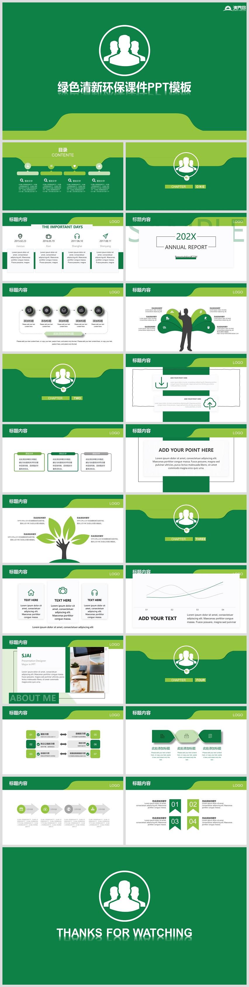 绿色环保教育宣传课件培训ppt模板