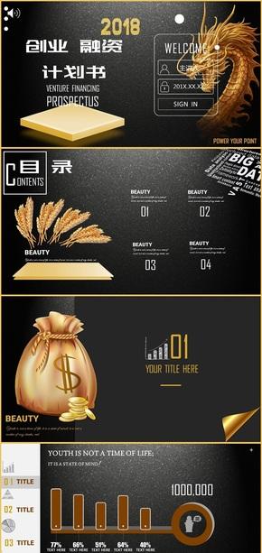 黑金色扁平企业融资工作汇报计划总结通用商务模板