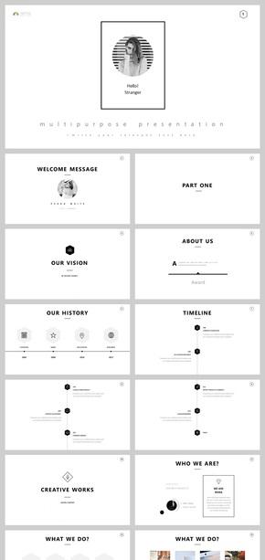 黑白欧美极简主义风时尚简约商务汇报计划总结简历发布会培训小清新画册ppt
